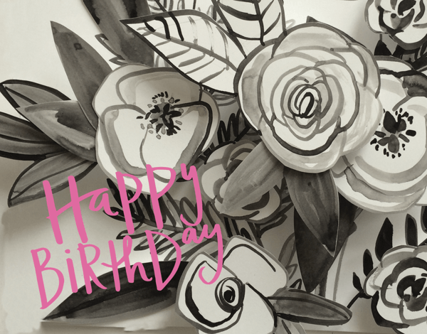 Beautiful Hand Painted Flourish Birthday Card