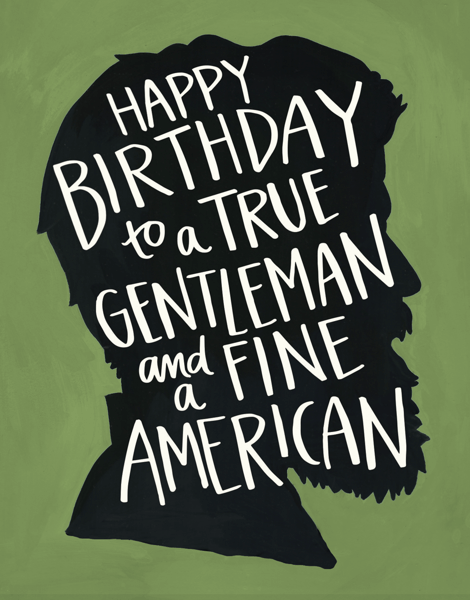 Hand Painted Lincoln Birthday Card
