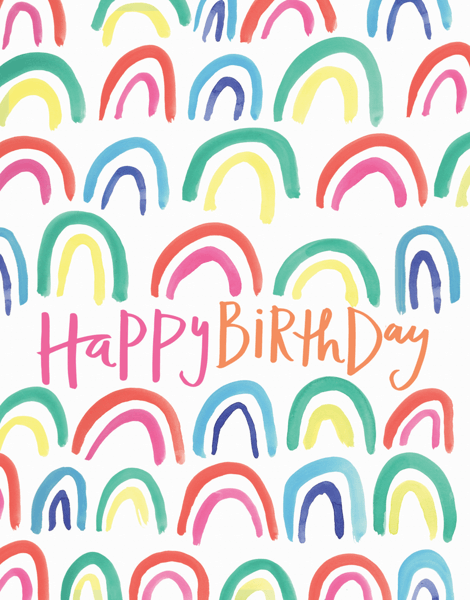 Colorful Watercolor Rainbows Birthday Card