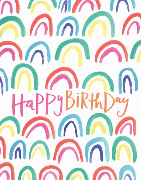 Colorful Watercolor Rainbows Birthday Card