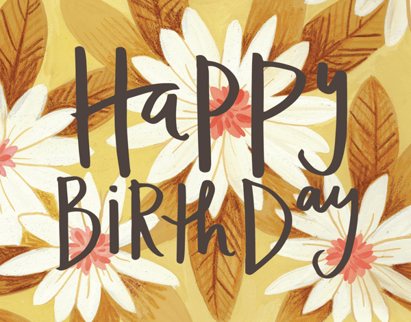 Vintage Yellow Floral Birthday Card
