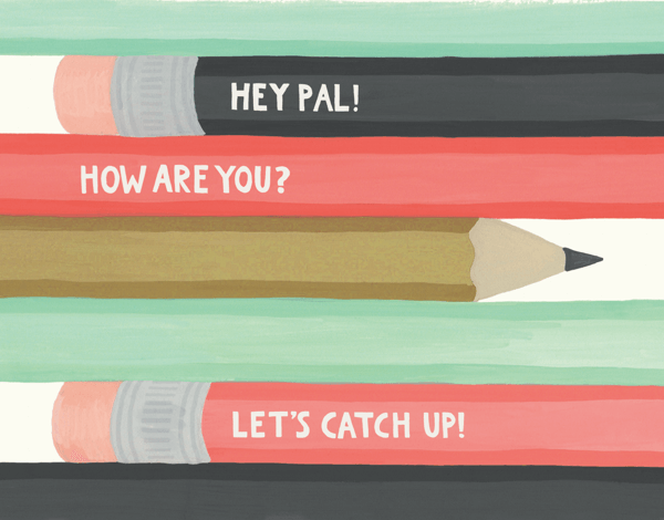 Hand Painted Pencil Pal Friend Card