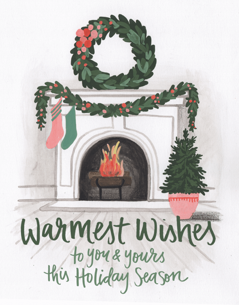 Vintage Warmest Wishes Fireplace Holiday Card
