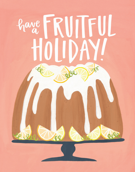 hand painted have a fruitful holiday greeting card
