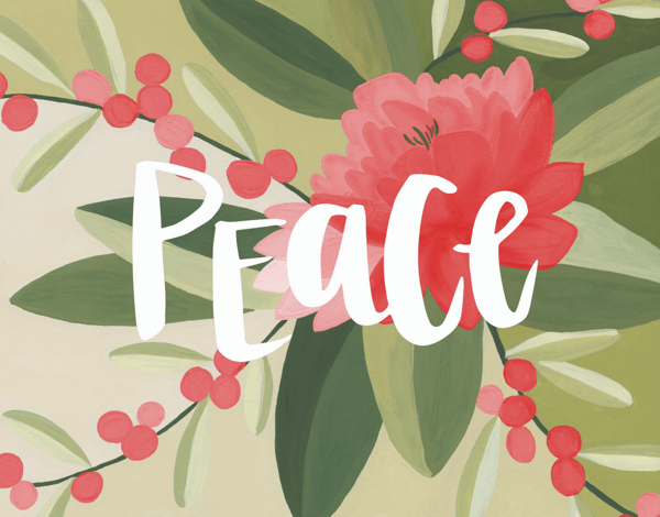 beautiful hand painted peace holiday greeting card
