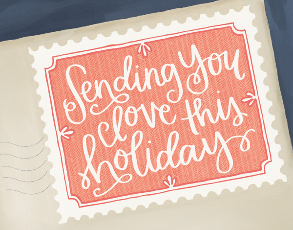 hand scripted sending you love this holiday greeting card