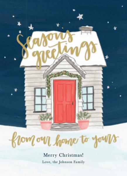 hand painted seasons greetings home greeting card