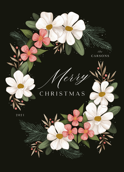 Green Floral Holiday Wreath