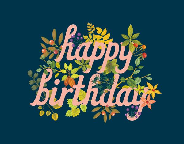 Navy Happy Birthday Card