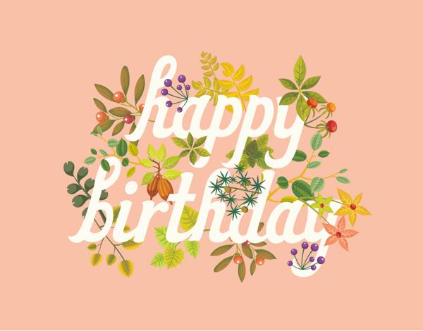Peach Happy Birthday Card