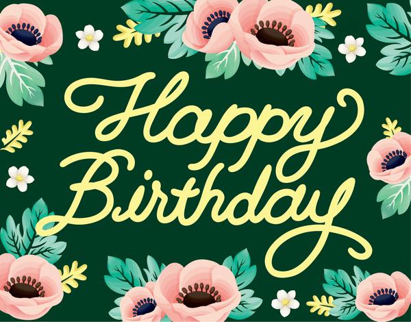 Floral Anemone Birthday Card