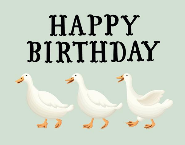 Childhood Ducks Birthday Card