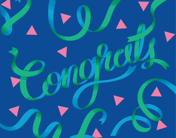 Blue Ribbon Congrats Card