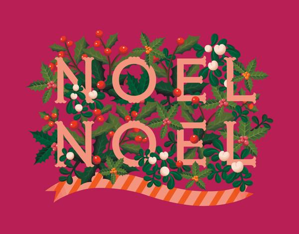 Raspberry Noel Christmas Card