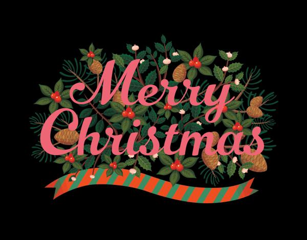 Black Merry Christmas Card