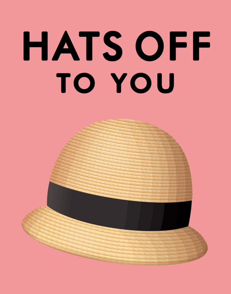 Pink Hats Off to You Congratulations Card