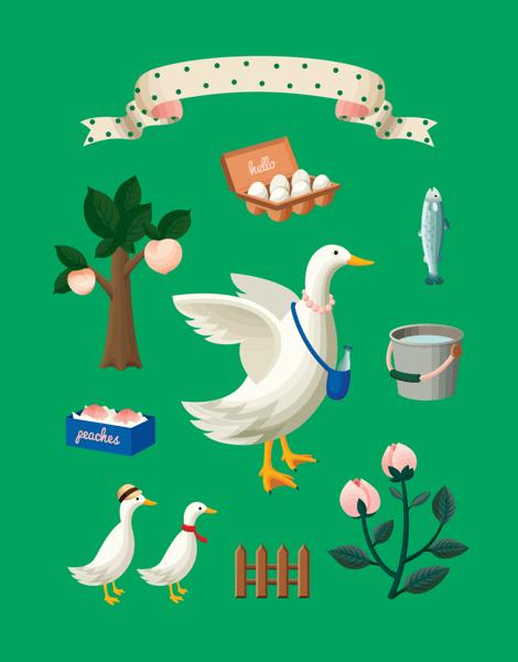 Charming Green Geese Art Card