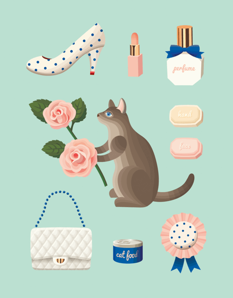 Cute Mint Cat Illustration Art Card