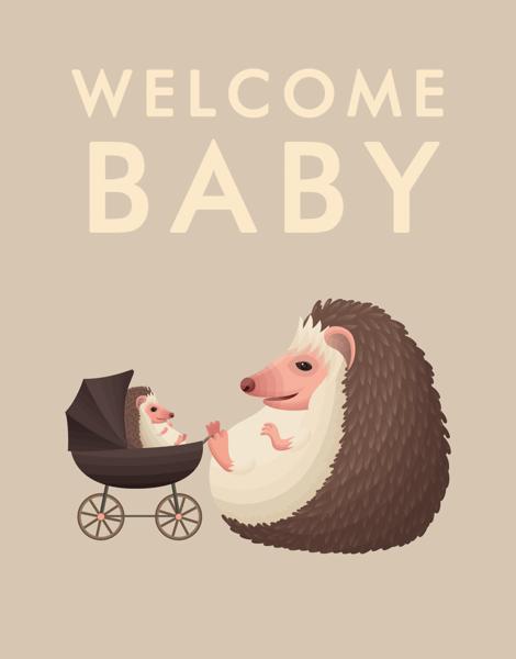 Welcome Baby Hedgehogs Baby Congratulations Card
