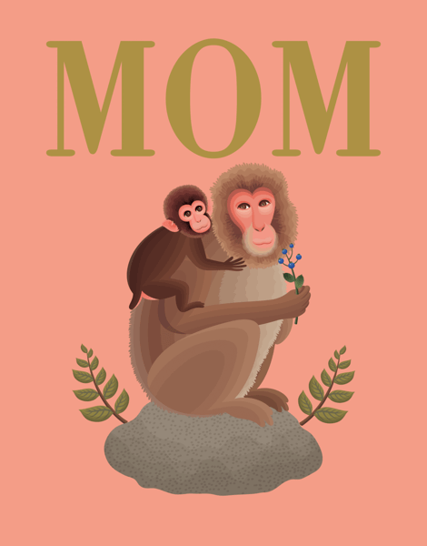 Mom and Baby Monkey Mothers Day Card