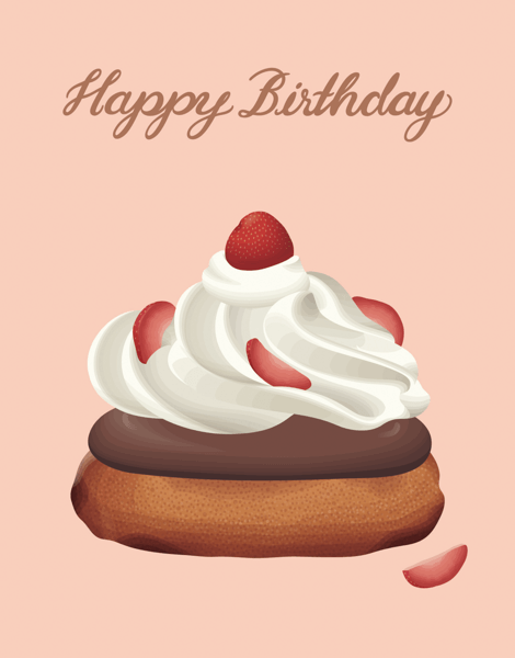 Strawberry Donut Happy Birthday Card