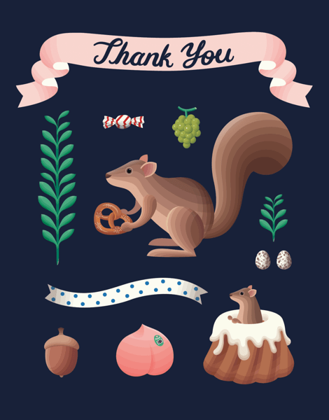 Charming Squirrel Thank You Card