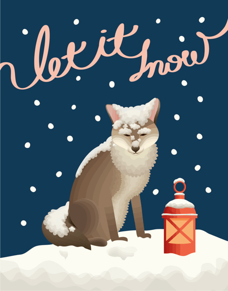 Let It Snow Fox Christmas Card