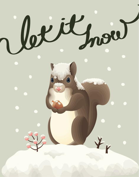 Let It Snow Adorable Squirrel Christmas Card