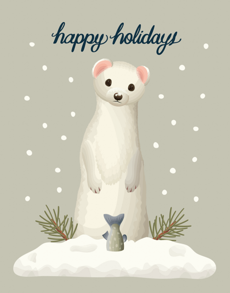 Charming Weasel Happy Holidays Card
