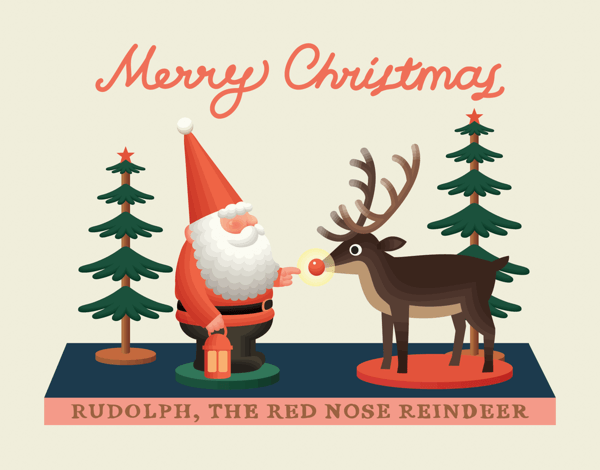 Classic Santa and Rudolph Christmas Card