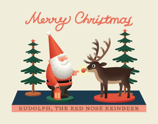Classic Santa and Rudolph Christmas Card