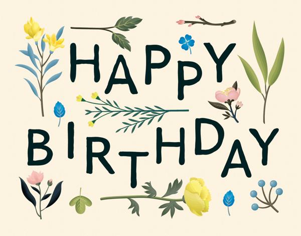 Botanical Pink Happy Birthday