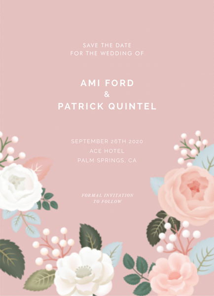 Pink Floral Save The Date