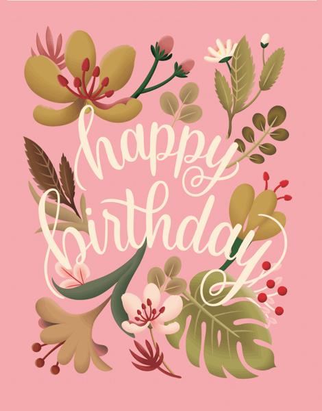 Pink Botanical Birthday