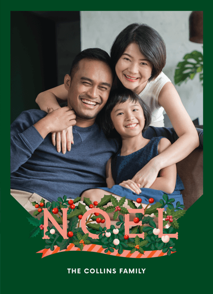 green-wreath-noel-holiday-photo-card