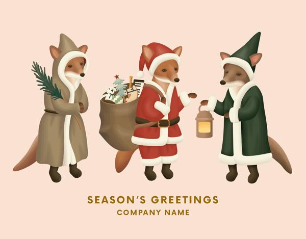 Festive Winter Foxes