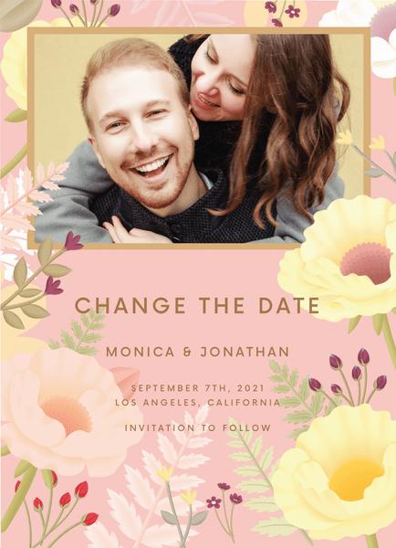 Elegant Pink Garden Change The Date