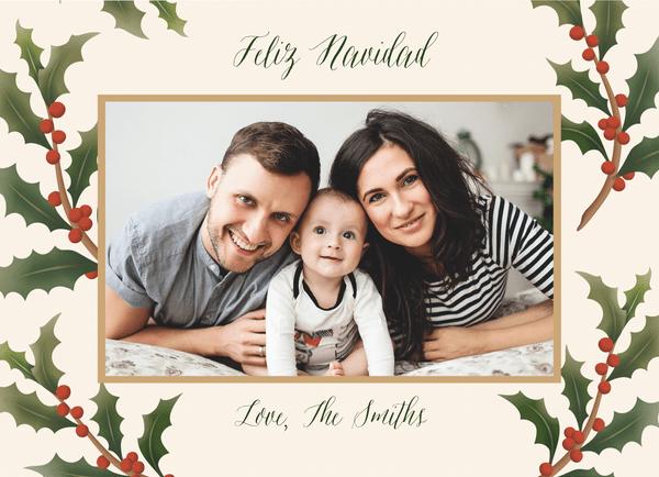 Festive Holly Frame Feliz Navidad