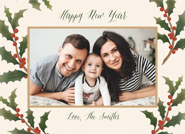 Festive New Year Holly Frame