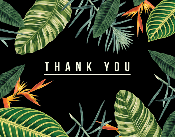 Tropical Black Thank You Card