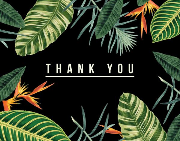Tropical Black Thank You Card