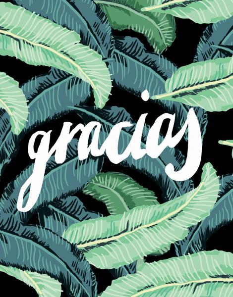 Brush Type Gracias Card