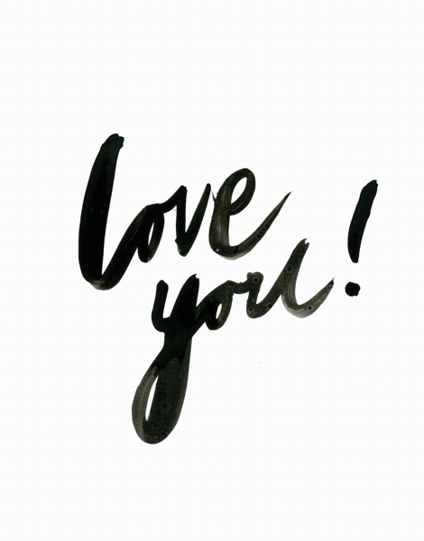 Simple Love You Brush Type Love Card