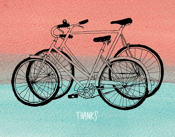 hand drawn Bicycles Thank you card