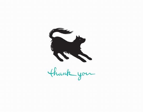 Black Cat Thanks Greeting Card