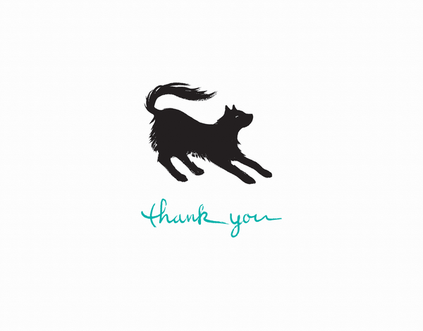 Black Cat Thanks Greeting Card