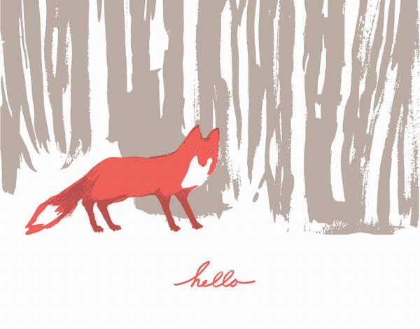 Charming fox hello card