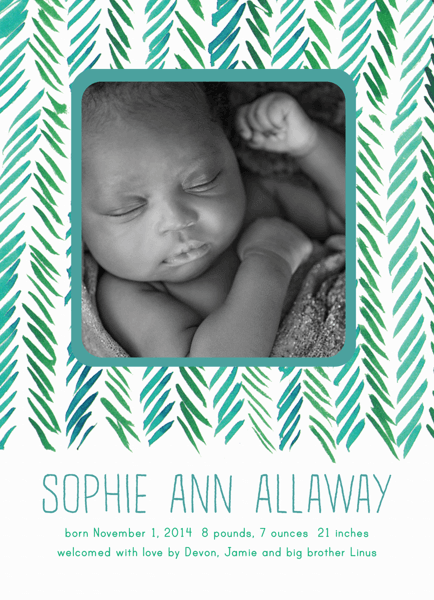 Green Chevron Birth Announcement