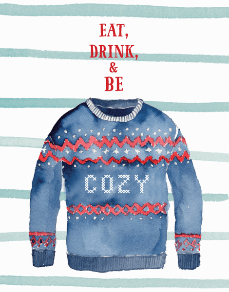 watercolor cozy holiday sweater greeting card