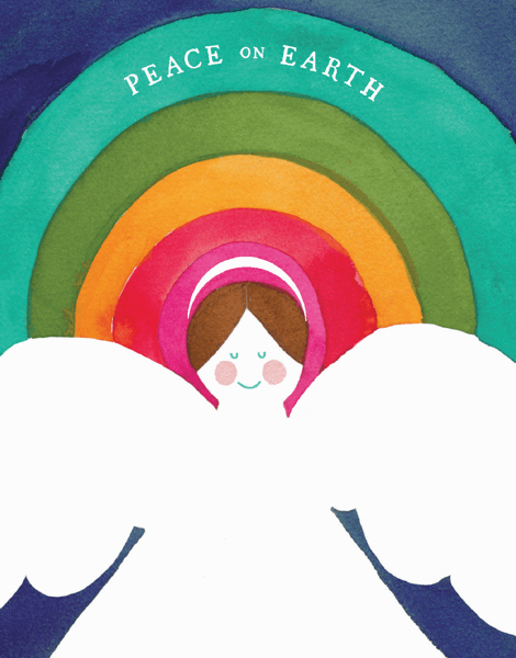 peace on earth angel with rainbow holiday greeting card